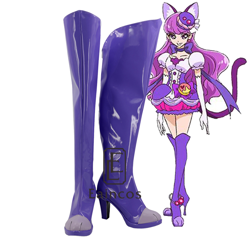 Anime Pretty Cure Precure Cure Macaron Purple High Boots Cosplay Party Shoes Customized Size