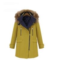 SWYIVY Woman Parka Coats Fur Collar Warm Long Desgin 2018 Winter New Female Casual Solid Coat Plus Size XL 5XL Women Parkas