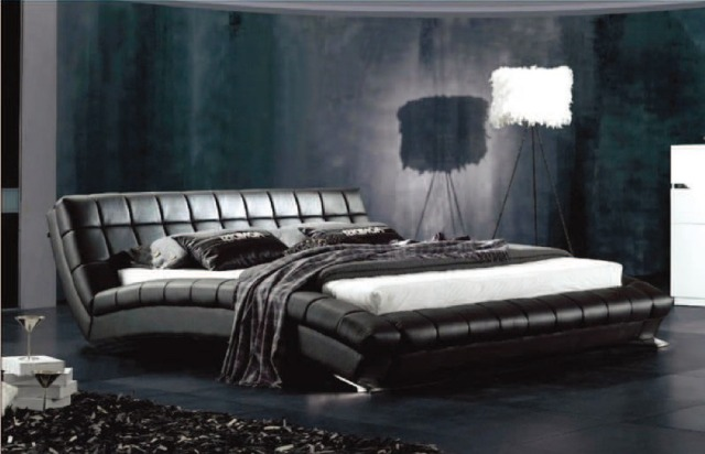 designer modern genuine real leather soft bed/double bed king/queen size bedroom home furniture black color