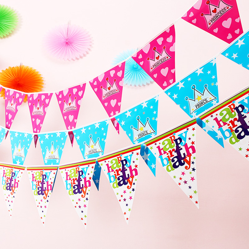 1sets Happy Birthday/crown Paper Flag/Kids Birthday Party