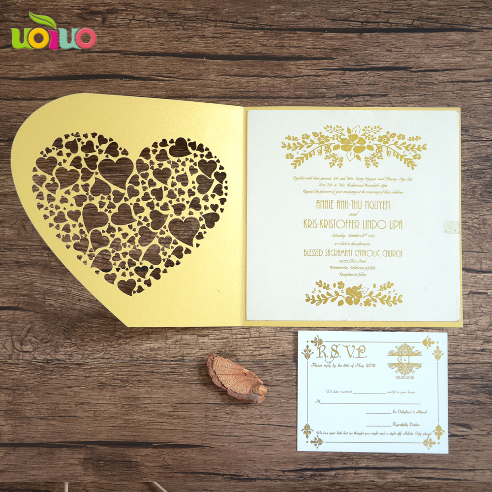 luxury golden wedding invitation card printing english letter fancy lace heart invitation card wholesale with rsvp card in cards invitations from home - Invitation Card Printing
