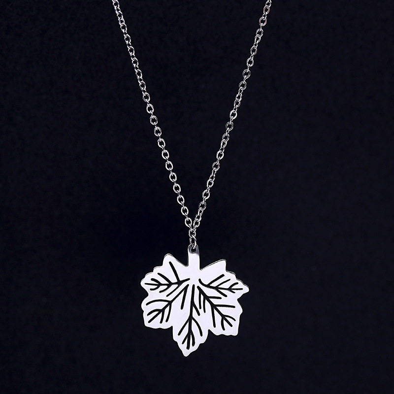 electroformed products maple custom large real necklace silver pendant leaf