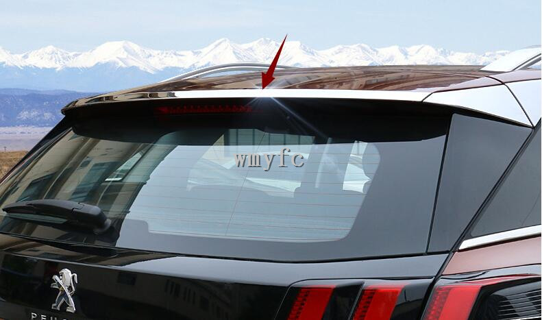 For <font><b>Peugeot</b></font> <font><b>3008</b></font> GT <font><b>2016</b></font> -2018 Second Generation Car Rear Back Spoiler Lip Wing Add-on Sticker Trim Cover Glossy Stainless Steel image