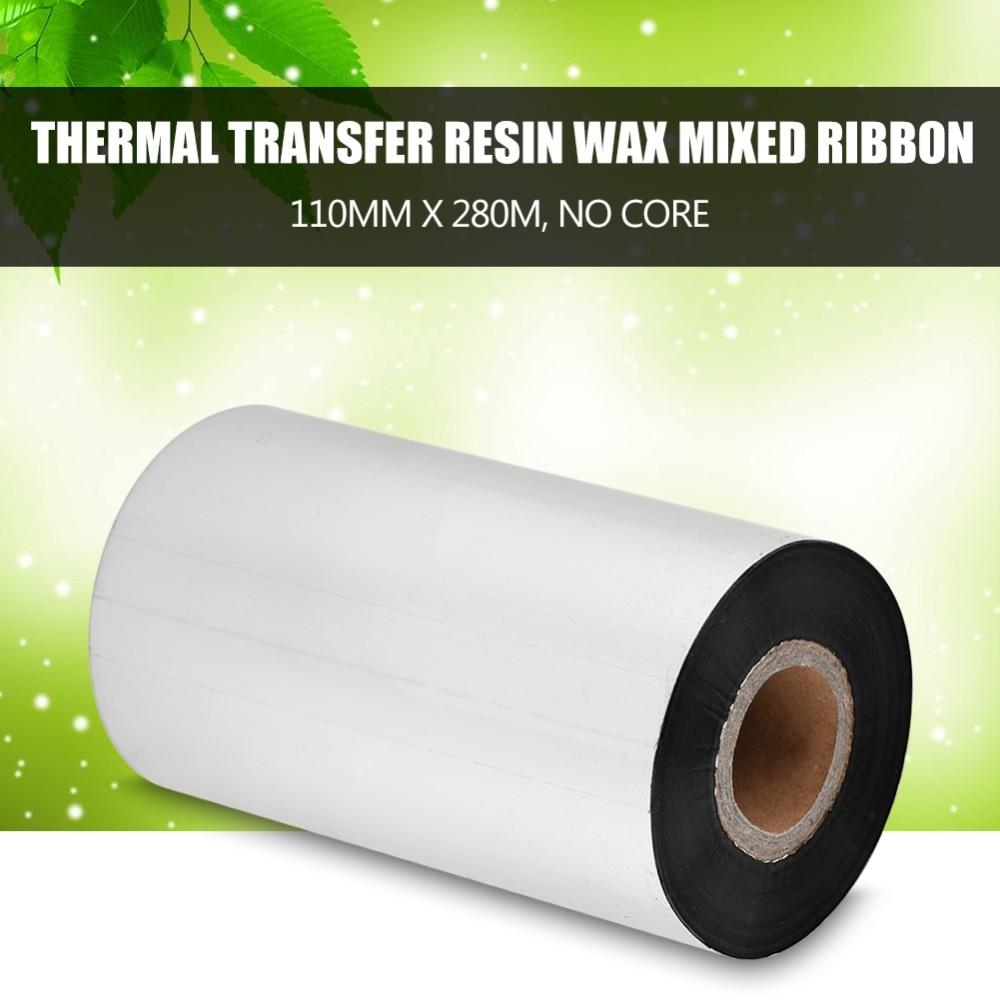 Environmental 1 Rolls 110mm x 280m Ribbon Resin Wax Thermal Transfer Ribbon Fit For Label Printer Label Tags Bar Code
