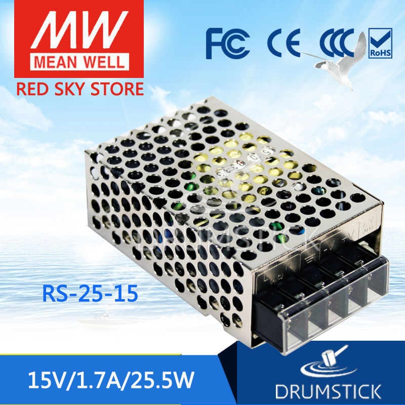 Selling Hot MEAN WELL RS-25-15 15V 1.7A meanwell RS-25 15V 25.5W Single Output Switching Power Supply meanwell rs 25 48 single output power