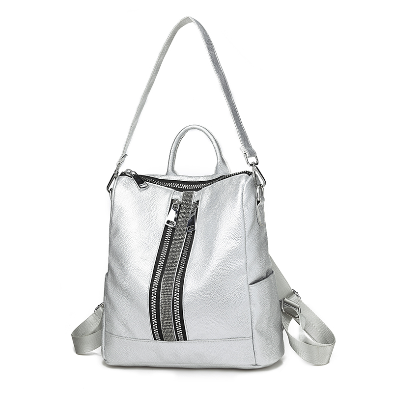 e26120a7d249 New Zipper Women Backpack Travel Stripe Small Backpacks PU Leather  Waterproof Totes Luxury Shoulder Bag Women's Daypacks Silver-in Backpacks  from Luggage ...