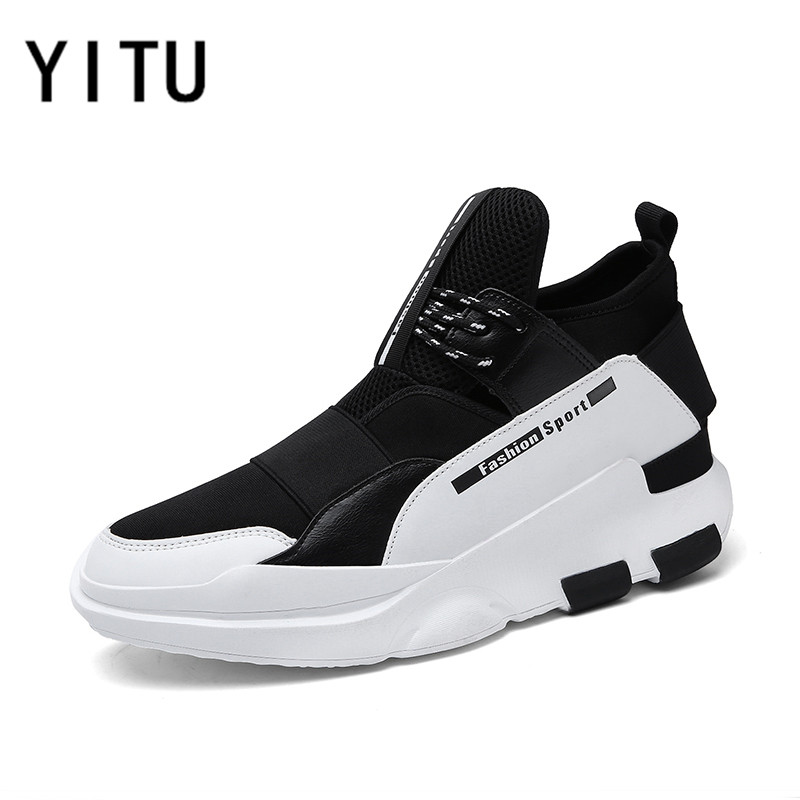 YITU High Top Men Running Shoes Athletic Leather Flexible Led Walking Shoes Soft Fitness Slip-on Sneakers Absorb Sweat Freeship