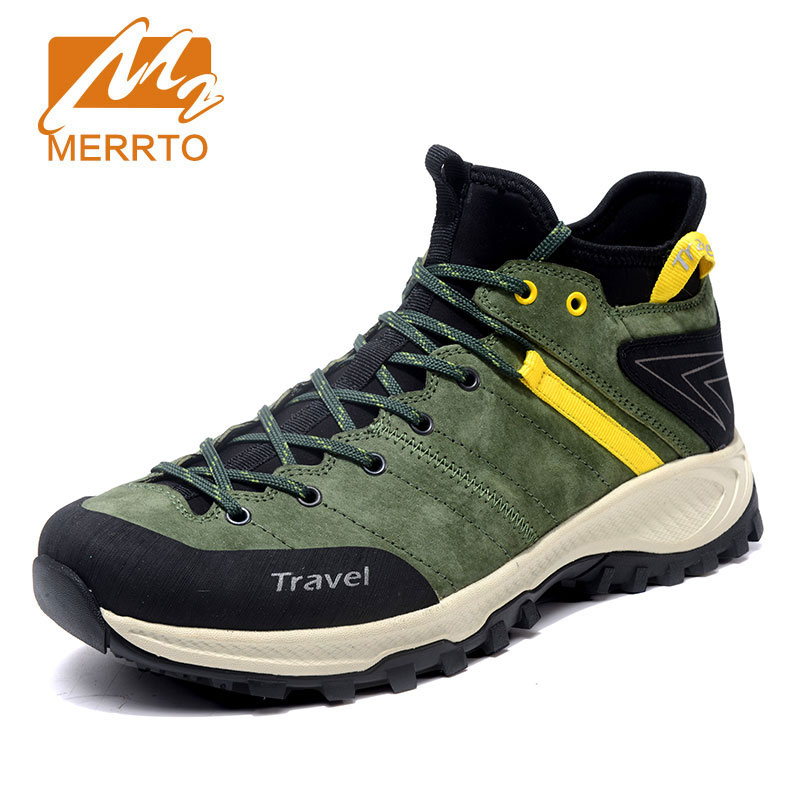 MERRTO Men's Outdoor Sports Shoes Non Slip Comfortable Hiking Shoes Genuine Leather Camping Shoes Breathable Rock Climbing xinda rock climbing handle control non confusion abseiling device stop descender outdoor rappelling rescue for 10 13mm rope
