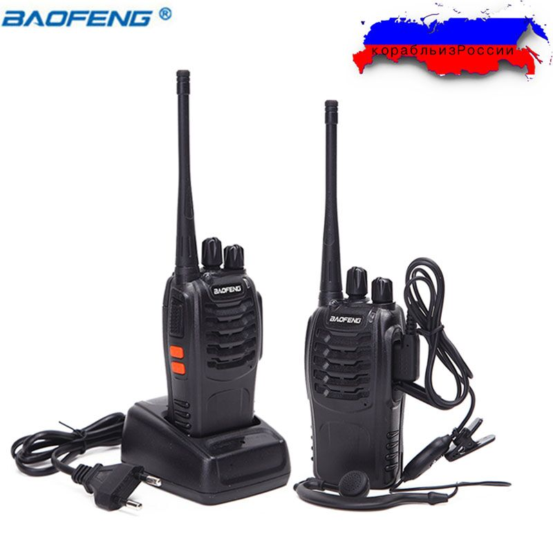 2PCS Baofeng BF-888S Walkie Talkie 5W Handheld Two Way Radio bf 888s UHF 400-470MHz Portable CB Radio Ham Radio HF Transceiver