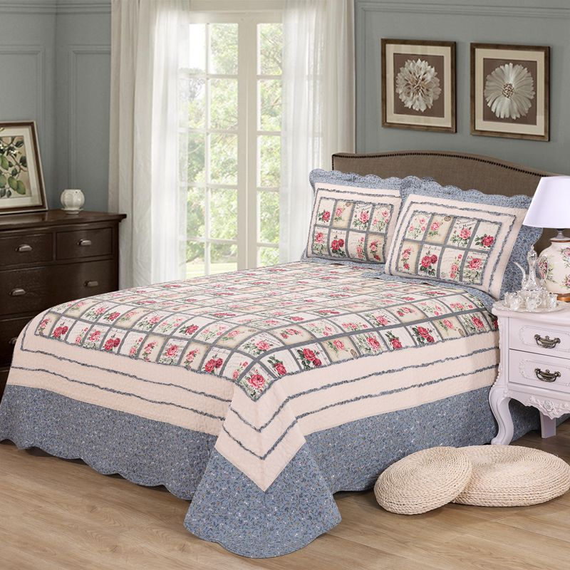 CHAUSUB 100% Cotton Patchwork Quilt Set 3pcs King Size Quilts Quilted Bedspread Bed Cover Sheets Pillowcase Coverlet Set BlanketCHAUSUB 100% Cotton Patchwork Quilt Set 3pcs King Size Quilts Quilted Bedspread Bed Cover Sheets Pillowcase Coverlet Set Blanket