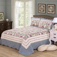 CHAUSUB 100% Cotton Patchwork Quilt Set 3pcs King Size Quilts Quilted Bedspread Bed Cover Sheets Pillowcase Coverlet Set Blanket