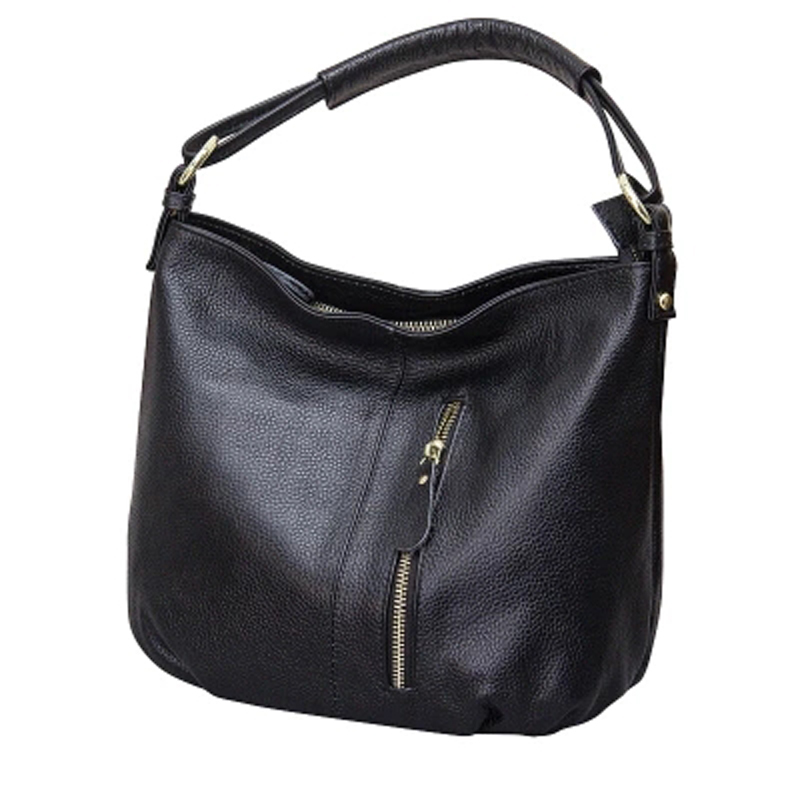 2017 Brand new women's hobo bag classical causal women handbag 100% genuine leather small Ruched Solid shoulder bag for girl
