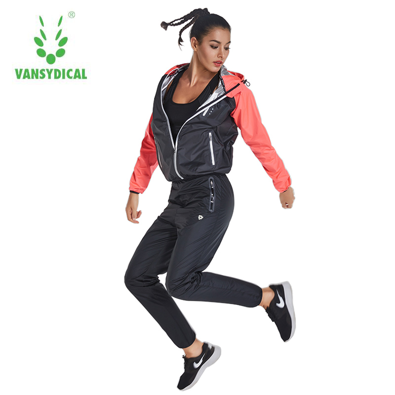 Vansydical  Women Running Sets Two Piece Sport Training Tracksuit for Women  Windproof Jacket with Pants