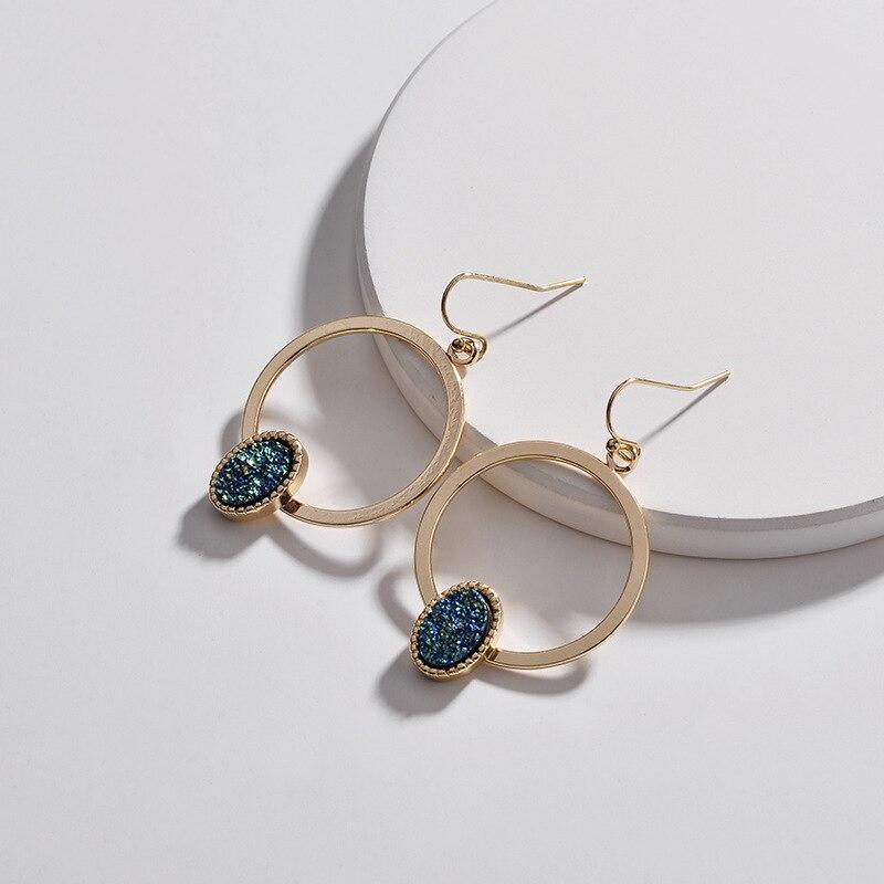 Faux Copper Circle Oval Druzy Quartz Drop Earrings 2