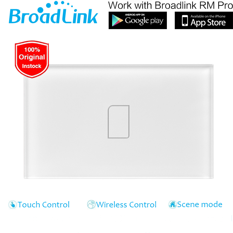 Broadlink US Standard 1 Gang Wireless Control Light Switch,Crystal Glass Panel Touch Wall Switch,LED Light Switch for Smart Home 2017 smart home us au standard wireless remote control touch light switch wall switch 3 gang black crystal glass panel with led