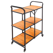 Iron & Wood Foldable Multi-function Cart with Wheels-US Stock