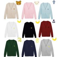 100% Cotton Japanese JK Uniform Cardigans Long Sleeve V-Neck Sweater for Girls Women Lolita Cosplay Clothes Winter Costume