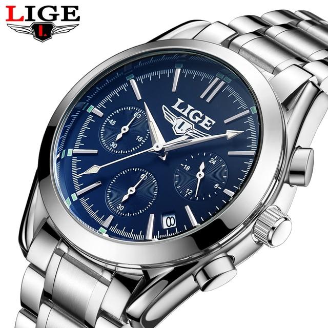 1b8f46a3a1c 2017 LIGE Chronograph Sports Relógios Men Marca De Luxo de Aço Completo  Relógio de Quartzo Homem