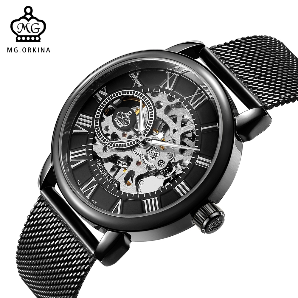 ORKINA Men Watches Mechanical Hand Wind Luxury Top Brand Wristwatch Skeleton Stainless Steel Bracelet Mesh Strap Male Clock