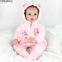 NPKDOLL Reborn Baby Doll Princess Girl 55cm Body Silicone Toys For Girls Wholesale Bathable Reborn Hot Sale Toy Plush Bear