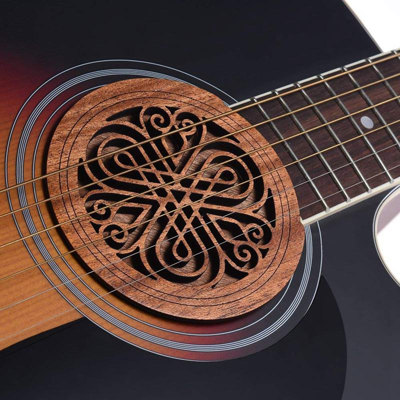 Guitar Wooden Soundhole Sound Hole Cover Block Feedback Buffer Mahogany Wood For EQ Acoustic Folk Guitars 7#