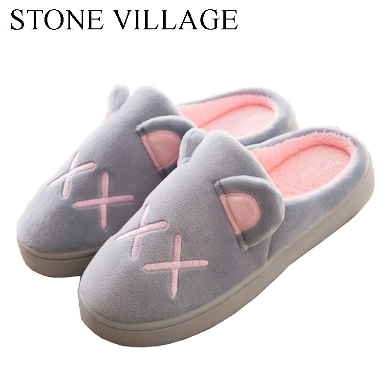 Autumn And Winter Animal Cute Flat With Thick Plush Warm Home Slippers Indoor Anti-Slip Cotton Slippers Women Men Slippers senza fretta winter slippers home warm cotton slippers with bag heel animal pattern plush warm home slippers cute women shoes