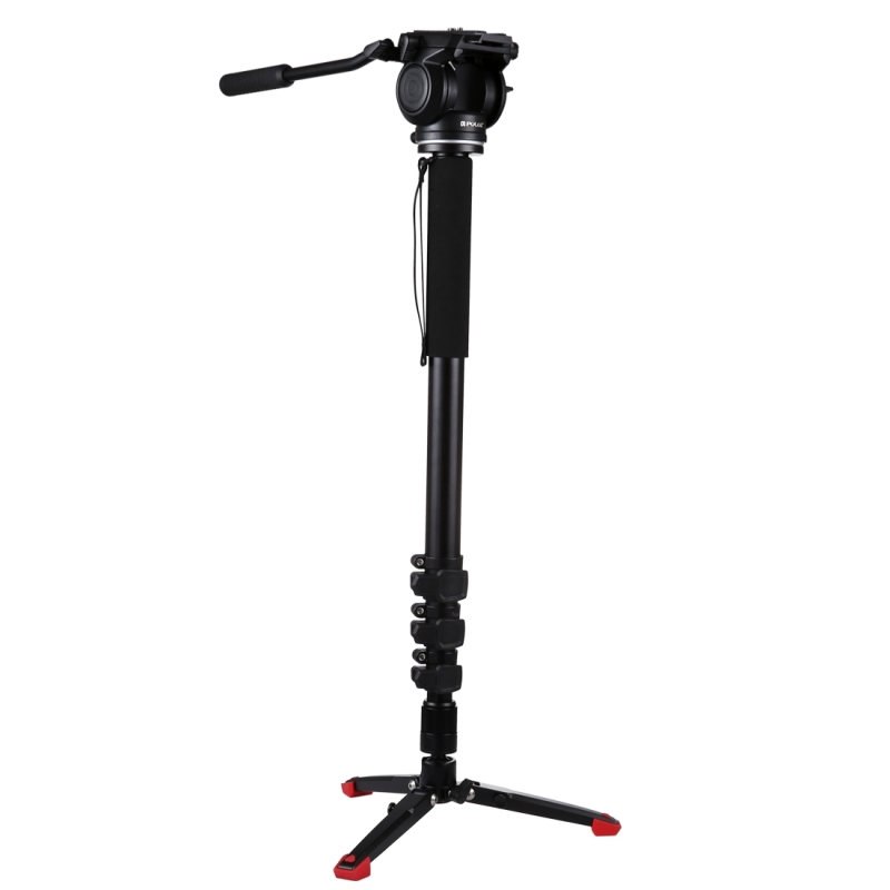 PULUZ Monopod DSLR Professional Four-Section Telescoping Self-Standing Tripod Fluid Head with Support Base Bracket For Canon puluz professional aluminium 4 sections dslr camera monopod self standing tripod for canon nikon sony dslr support base bracket