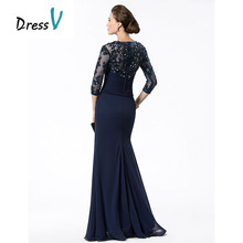 DressV Long Navy Blue Mother Of The Bride Dresses Chiffon Beaded Appliques Bodice Sheer 3/4 Sleeves Mothers Evening Dresses