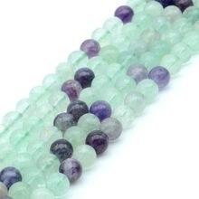 5be0a0663753 Ronda Natural colorido fluorita piedra perlas para joyería hacer DIY  pulsera collar 4 6 8 10 12mm 15 pulgadas granos del espacia.