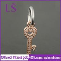LS 100 S925 Silver 14k Rose Gold Symbol Of Trust Dangle Charm Fit Original Bracelets Pulseira