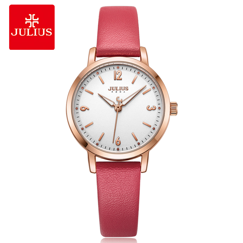 Julius Silver Ladies Red Leather Watch Women Clock Steel Quartz Wristwatch Casual Gift Whatch Luxury Fashion Relogio JA-1070 gopole