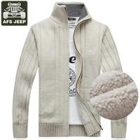 AFS JEEP Brand Sweater Men Cardigan Male Fleece Standard Wool Sweater Men Pull Homme Cardigan Men Fashion Outwear Coats Size 3XL