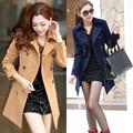 Новый осень зима мода большой размер женщин двубортный шерстяное пальто лацкан Тонкий куртка XQ069
