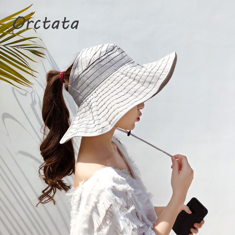 Summer Women Foldable Sun Hat Cap Anti-UV UPF 50+ Sun Shade Panama Roll Up Hat Soild Adjustable Cotton Wide Brim Visors Hat
