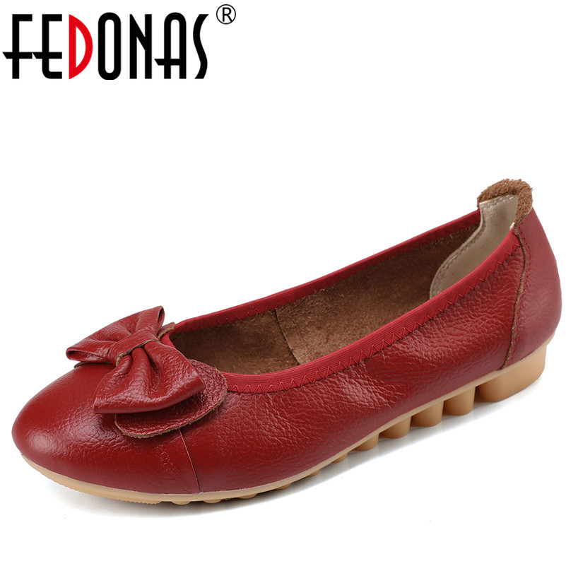 FEDONAS New Women's Genuine Leather Flats Shoes Female Casual Flat Loafers Leather Shoes Woman Driving Working Flats Shoes цена и фото