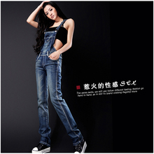Spring summer autumn winter women jeans overalls suspenders trousers spaghetti strap denim pants frock jumpsuit blue calca jeans