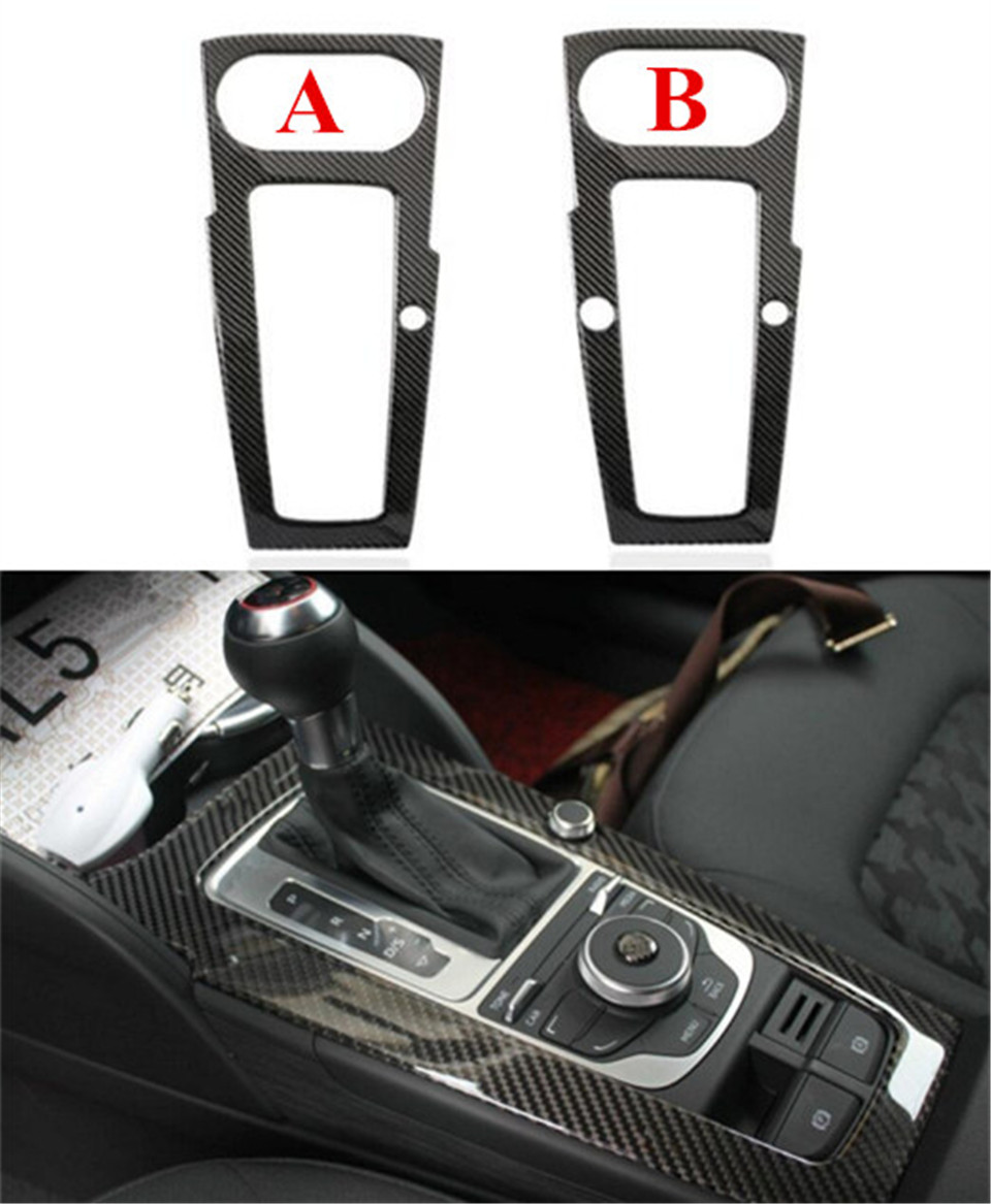 1pc Carbon Fiber Gear Shift Box Panel Surround Frame Cover Trim For Audi A3 8v 2013 2016 In
