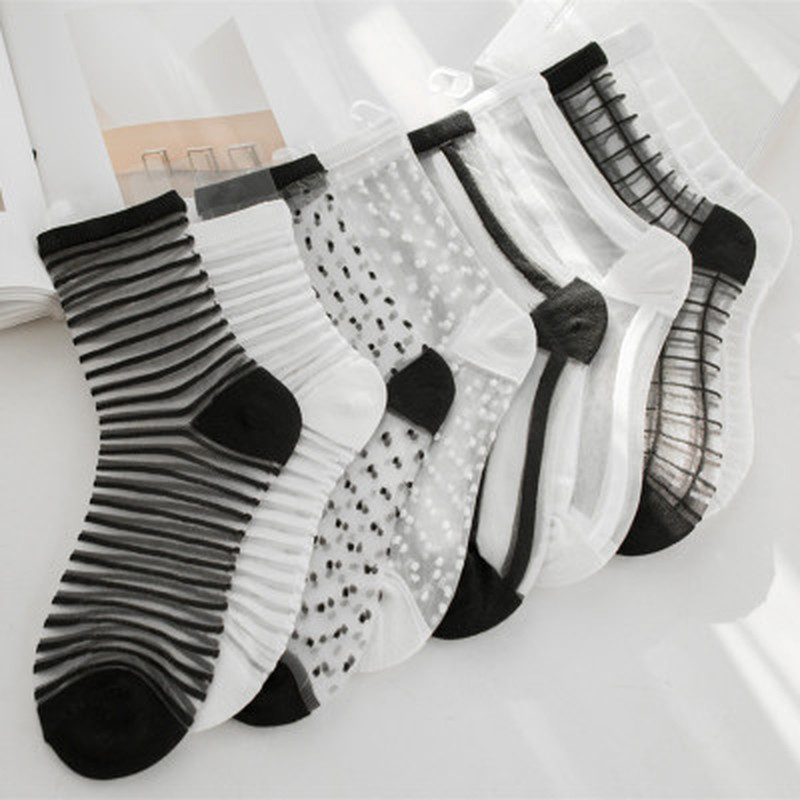Lace Mesh Fishnet Socks Mixed Fiber Transparent Stretch Elasticity Ankle Net Yarn Thin Women Cool Socks 1pair=2pcs
