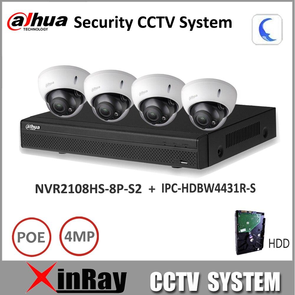 Dahua DH208RS Security CCTV Camera Kit  With NVR2108HS-8P-S2 IP Camera IPC-HDBW4431R-S P2P Surveillance System Easy to install видеокамера ip dahua dh ipc hdbw2220rp zs 2 7 12мм 1 2 8 1984x1225