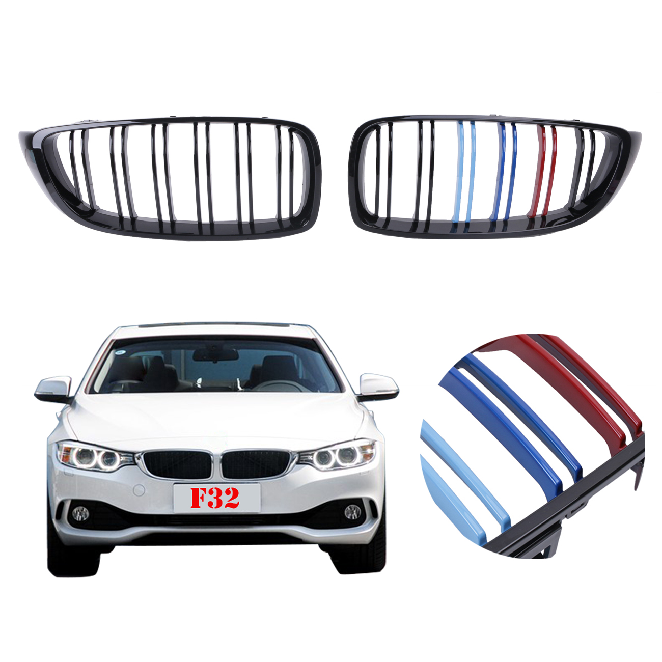 For BMW F32 F33 F36 4 Series 428i 435i 2-DOOR 2014 2015 2016 Front Kidney Grilles Double Slat Grill Gloss Black M-color #P462 2016 new a pair front grilles left and right double line grille gloss black front grills for bmw 3 series e46 2002 2004 4 door