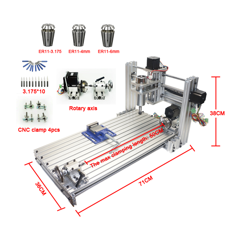 CNC router mini DIY cnc machine 3060 USB port Milling engraving machine 6030 with Mach3 ER11 collet tools kit 4 axis cnc router kit metal milling machine mach3 usb metal engraving machine 300w mach3 diy mini engraving machine
