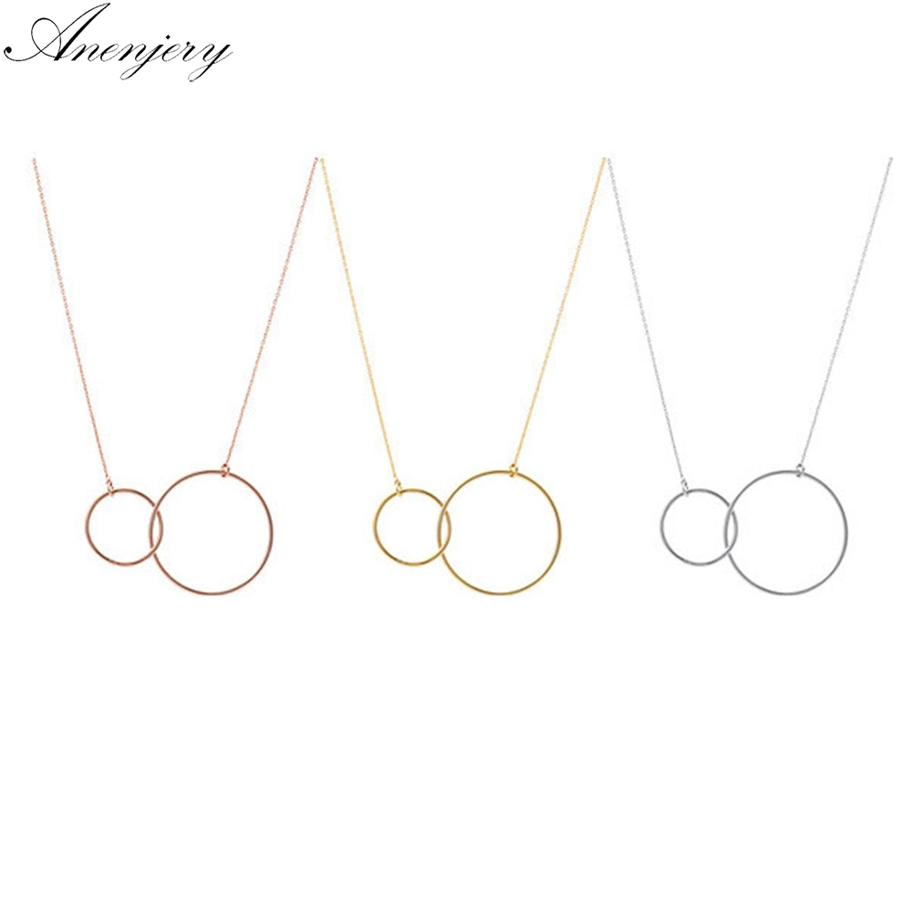 Anenjery 3 Colors Double Circle Interlock Clavicle Short Necklace 925 Sterling Silver Necklace Collares Kolye SN333