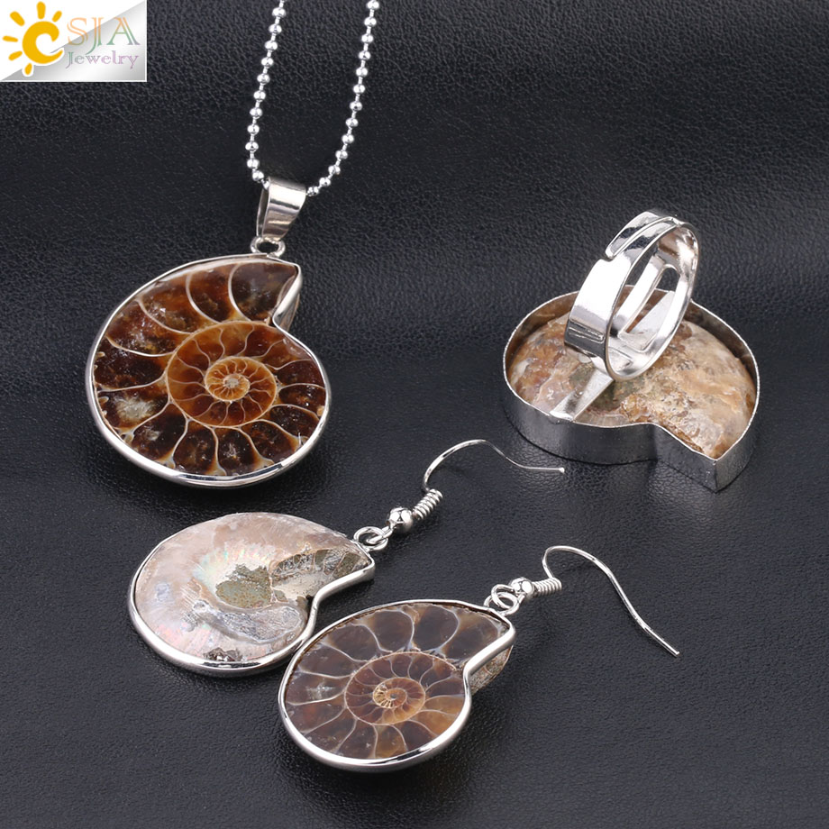 HTB13.p.XdzvK1RkSnfoq6zMwVXa4 - CSJA Hot Natural Ammonite Stone Jewelry Sets Necklace Earrings Ring Conch Shell Whorl Fossils Pendant Beach Jewellery Women F613