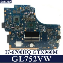 KEFU GL752VW Laptop motherboard for ASUS GL752VW GL752V GL752  Test original mainboard I7-6700HQ GTX960M-2GB/4GB