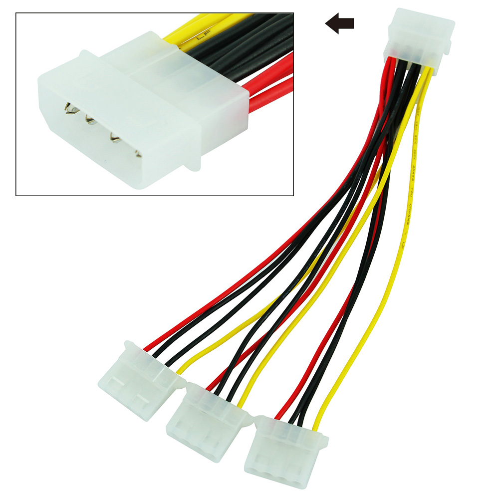 JONSNOW 4pin IDE Power Splitter Cable 4Pin Molex Male To 3 Port IDE Female Cables Power Supply Adapter