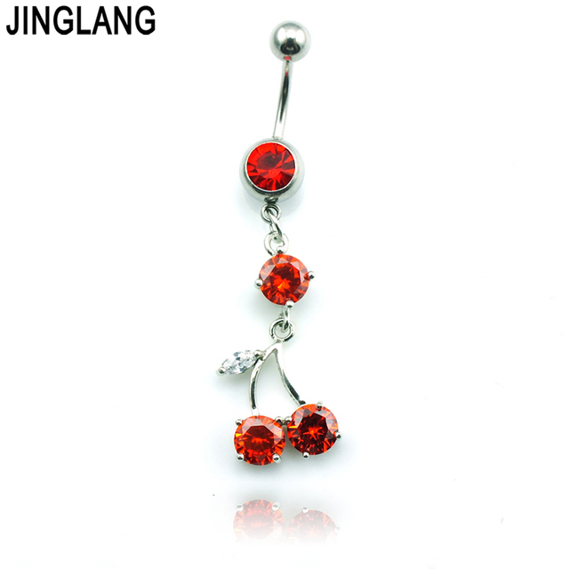 Us 1 93 5 Off Jinglang New Navel Rings 316l Stainless Steel Barbell Dangle Red Rhinestone Fruit Belly Piercing Hypoallergenic Jewelry On