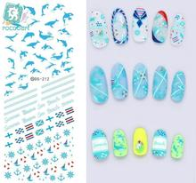 Rocooart DS212 Nail Water Transfer Nails Art Sticker Blue Ocean Fishes Anchor Nail Wraps Sticker Watermark Fingernails Decals