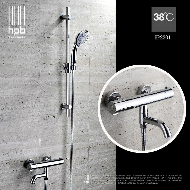 HPB Brass Thermostatic torneira banheiro Bathroom Hot And Cold Water Mixer Bath Shower Set Faucet HP2301 стоимость