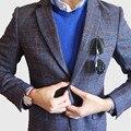 Новая Мода Фиолетовый Плед Мужские Костюмы Куртка Для Свадебное Платье шерсть Твид Мужские Slim Fit Пиджак Жениха Смокинг Зубчатый нагрудные