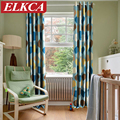 Modern Curtains for Kids Room Endless Printed Thick Blackout Curtains for Living Room Window Curtains for the Bedroom Blue Red